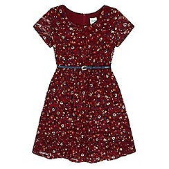Yumi Girl - Red Floral Print Lace Dress