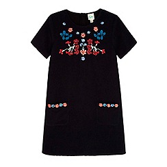 Yumi Girl - Black Embroidered Corduroy Shift Dress