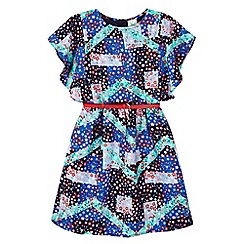 Yumi Girl - blue Floral Patchwork Print Dress