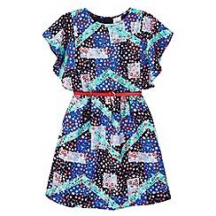 Yumi Girl - blue Floral Patchwork Print Dress