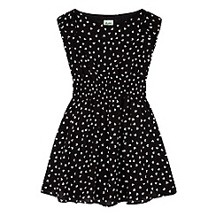 Yumi Girl - black Heart Print Floaty Dress