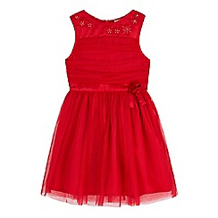 Yumi Girl - red Mesh Prom Dress With Corsage