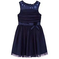 Yumi Girl - blue Mesh Prom Dress With Corsage