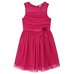 Yumi Girl - pink Mesh Prom Dress With Corsage