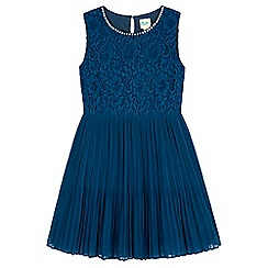 Yumi Girl - blue Pleated Pearl Lace Dress