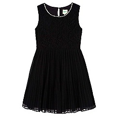 Yumi Girl - Black Pleated Pearl Lace Dress