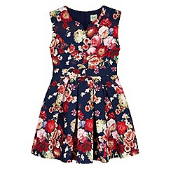 Yumi Girl - blue Floral Printed Textured Dress