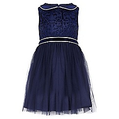 Yumi Girl - blue Printed Deer Party Dress