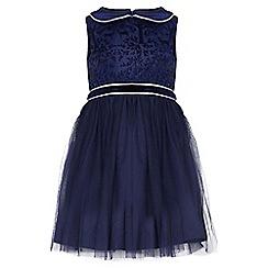 Yumi Girl - blue Printed Deer Party Dress