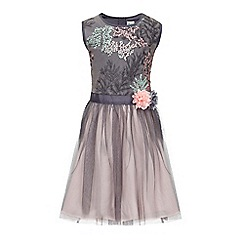 Yumi Girl - Grey Floral Embroidered Party Dress