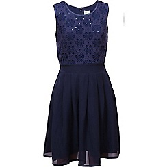 Yumi Girl - Blue Floral Sequin Lace Party Dress