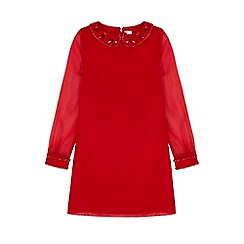 Yumi Girl - red Sequin Collar Shift Dress