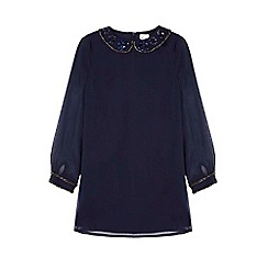 Yumi Girl - blue Sequin Collar Shift Dress