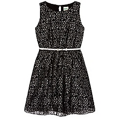 Yumi Girl - black Floral Lace Metallic Dress