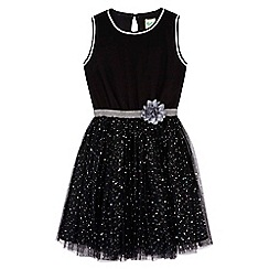 Yumi Girl - Black Flower Sequin Party Dress