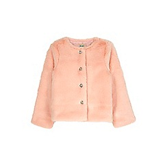 Yumi Girl - pink Faux Fur Jacket With Jewel Buttons