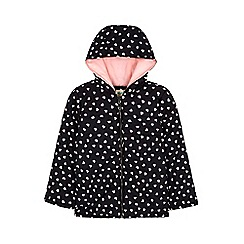 Yumi Girl - black Heart Print Padded Jacket With Hood