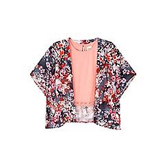 Yumi Girl - grey Cherry Blossom Print Kimono Set