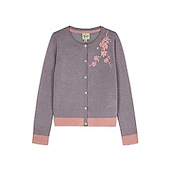 Yumi Girl - pink Embellished Flower Cardigan