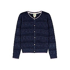 Yumi Girl - blue Lurex Heart Pointed Cardigan