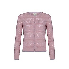 Yumi Girl - pink Lurex Heart Pointed Cardigan