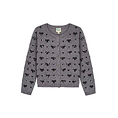 Yumi Girl - grey Heart & Bow Sequined Cardigan