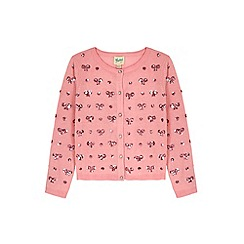 Yumi Girl - pink Heart & Bow Sequined Cardigan