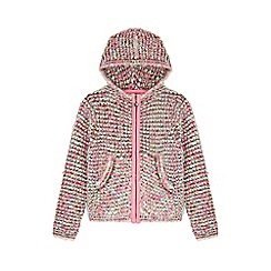 Yumi Girl - multicoloured  Boucle Cardigan With Hood