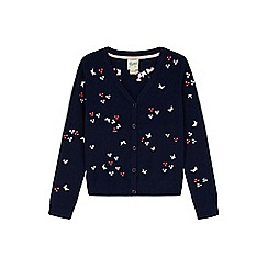 Yumi Girl - blue Embroidered Butterfly Cardigan