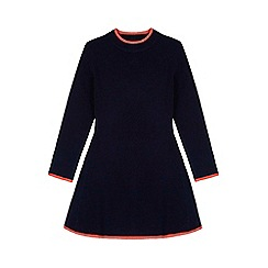 Yumi Girl - Blue Knitted Rib Jumper Dress