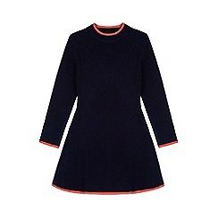 Yumi Girl - Blue Knitted Rib Jumper Dress