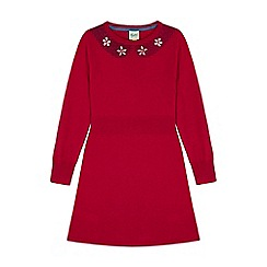 Yumi Girl - Red Knitted Embellished Jumper Dress