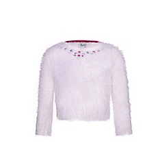 Yumi Girl - cream Fluffy Gemstone Jumper