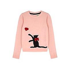 Yumi Girl - pink Embellished Cat Jumper