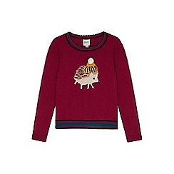 Yumi Girl - purple Hedgehog Pom Pom Jumper