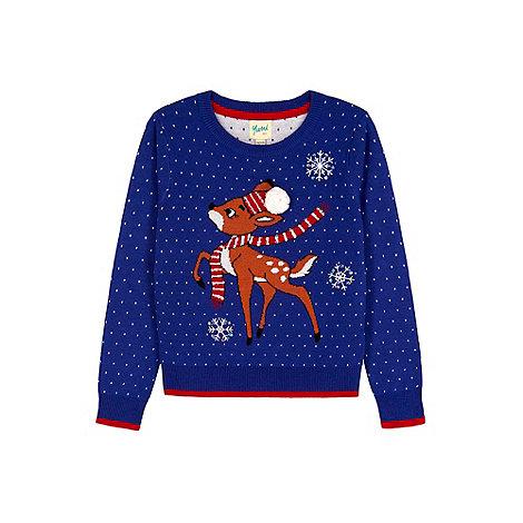 Yumi Girl - blue Reindeer Snowflake Christmas Jumper