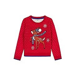 Yumi Girl - red Reindeer Snowflake Christmas Jumper