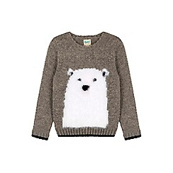 Yumi Girl - Grey Festive Polar Bear Jumper