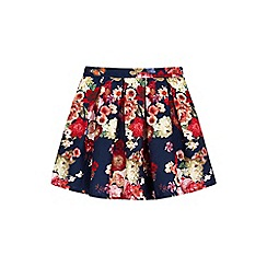 Yumi Girl - blue Floral Print Textured Skirt
