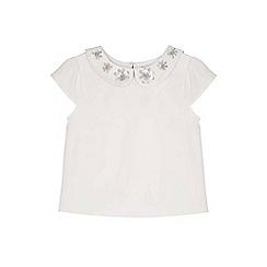 Yumi Girl - cream Sequin Flower Top