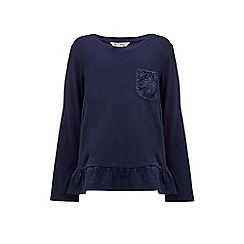 Yumi Girl - blue Lace Pocket Detail Long Sleeve Top