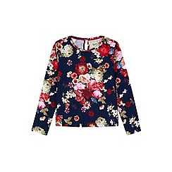 Yumi Girl - blue Floral Oil Paint Top