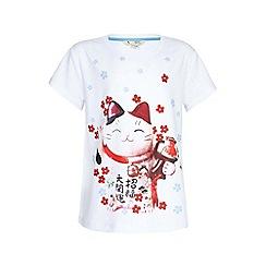 Yumi Girl - white Lucky Cat Printed Tee