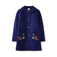Yumi Girl - Blue floral and butterfly embroidered coat