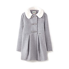 Yumi Girl - Girls' grey faux fur trim double breasted coat