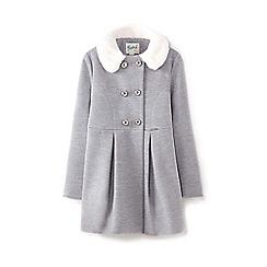 Yumi Girl - Girls' grey faux fur trim double breasted coat