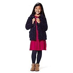Yumi Girl - Girls' navy oversized faux fur coat
