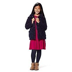 Yumi Girl - Girls' navy oversized faux fur coat