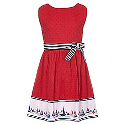 Yumi Girl - red Boat Border Skater Dress