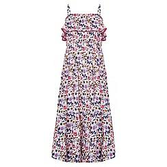 Yumi Girl - white Butterfly Print Frill Maxi Dress